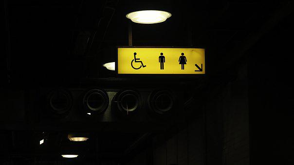 Dark, Directional Sign, Guide, Illuminated