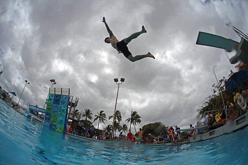 Swimming Pool, Water, People, Fun, Sky, Clouds, Summer
