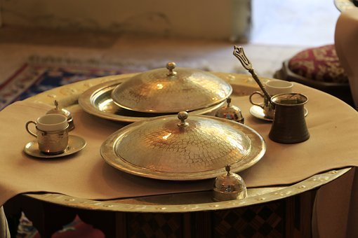 Food, Table, Ottoman, Kitchen, Coffee, Cup, Plate, On