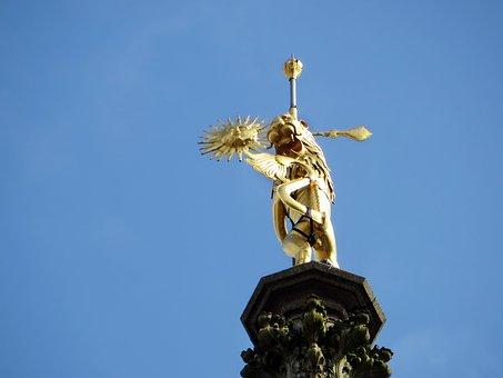 Arras, Belfry, Sculpture, Golden, Sun, Devil, Summit