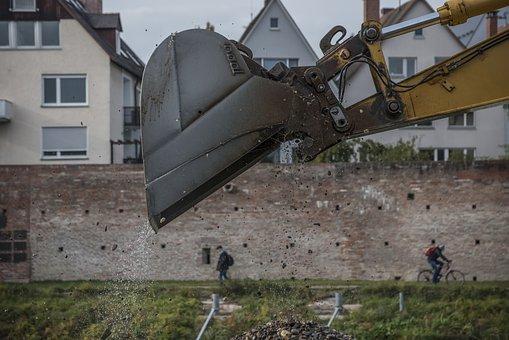Excavators, Danube, City Wall, Water, River, Homes
