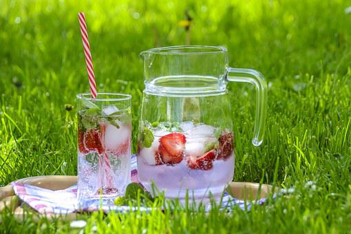 Strawberry Drink, Fruit Tea, Ice, Refreshment, Summer