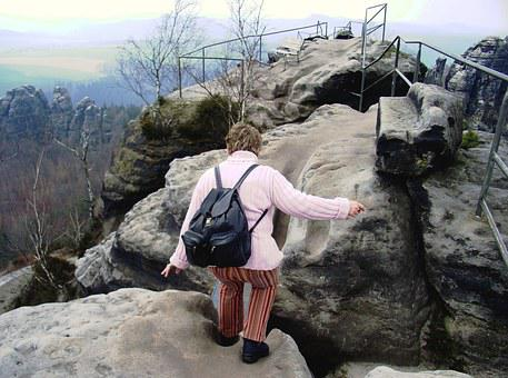 Climb Mountain, Elbe Sandstone Mountains, Rise, Jump