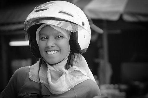 Helmet, Girl, Muslim, Hijab, Smile, Female, Face, Happy