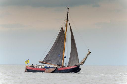 Sailing, Wadden Sea, Tjalk, Flat Bottom, Water, Sea