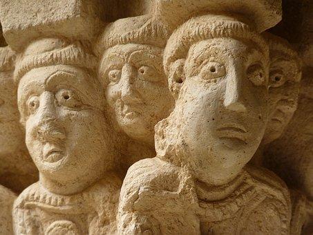 Head, Heads, Pillar, Monastery, Ruin, Old, Castle