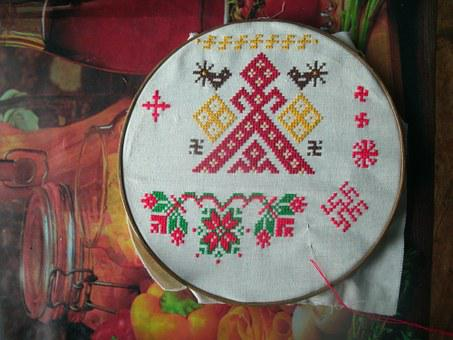 Embroidery, Russian, Cross, Red, Thread, Hoop, Needle