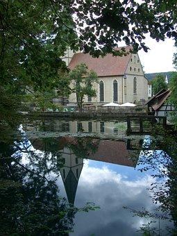 Blautopf, Mirroring, Water, Blaubeuren, Monastery