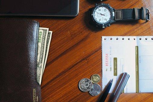 Watch, Bill, Table, Wallet, Money, Smart, Business