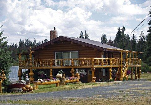 Log Home, House, Wood, Logs, Stylish, Cabin