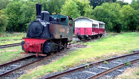 Locomotive, Wagon, Rails, Old