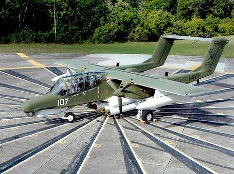 Plane, Airplane, Aircraft, Ov-10d Bronco, Tarmac, Trees
