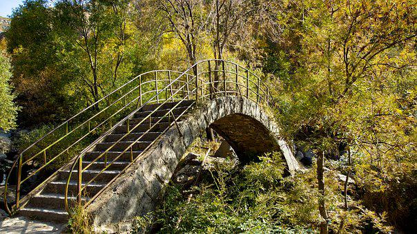 Bridge, Stone, Arch, Round, Metal, Cross, Path