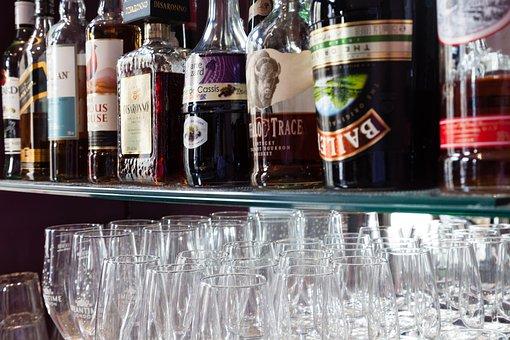 Spirits, Bottle, Bar, Shelf, Glass, Alcohol, Drink