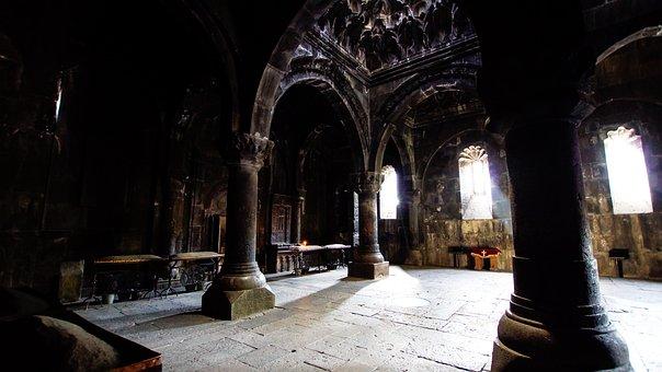 Church, Vestry, Ancient, Geghard, Armenia, Column