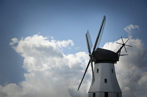 Windmill, Clouds, Sky, Flour Mill, Historically, Mill