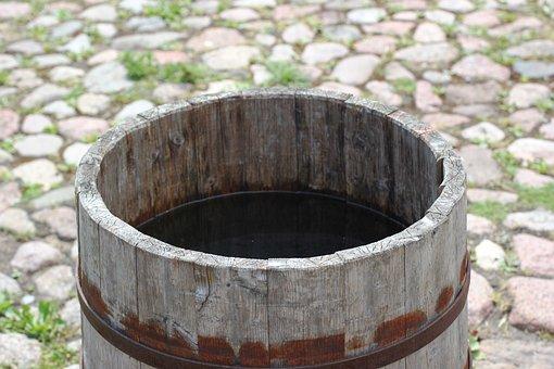 Barrel, Wooden, Rain