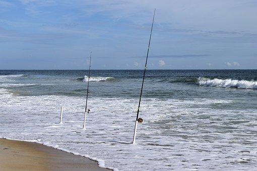 Surf Fishing, Ocean, Surf, Waves, Beach, Fishing Rods