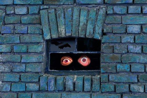 Monster, Wall, Bat, Mysterious, Mirroring, Eyes, Evil