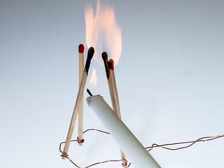 Ignition, Fire, Flame, Sticks, Matches, Burning Down
