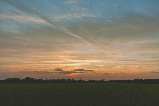 Sunset, Countryside, Sky, Farm, Nature, Landscape