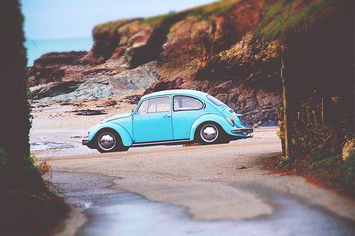 Beach, Beetle, Car, Nature, Road, Sea, Seashore