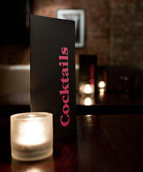Cocktail, Menu, Table, Bar, Drinks, Candle, Alcohol