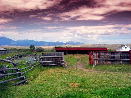 Montana, Landscape, Mountains, Feedlot, House, Barn