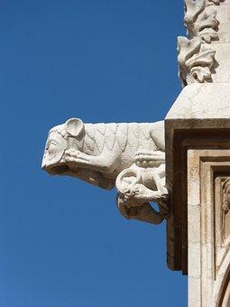 Gargoyle, Gothic, Tarragona Cathedral, Tarragona, Sky