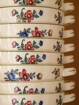 Porcelain, Bowl, Henkel, Cup, Rose, Ornament, Red