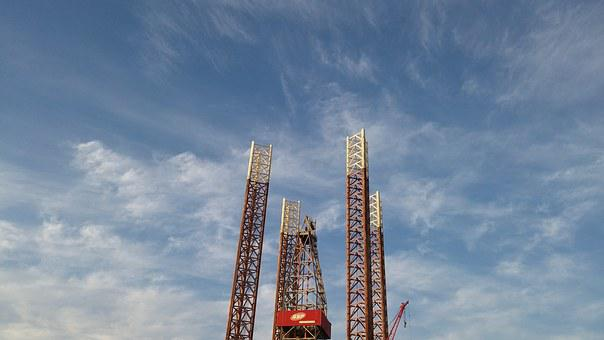 Sky, Clouds, Drill, Platform, Oil, Industry, Rig