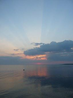 Sunset, Sea, Sunrays, Sky, Roopa Peninsula