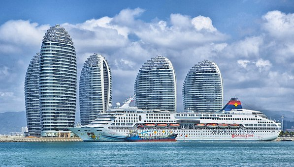 Ship, Hainan, China, Skyline, Ocean Liner, Hdr, Sky