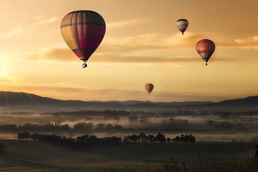 Hot Air, Balloon, Valley, Sky, Yellow, Floating