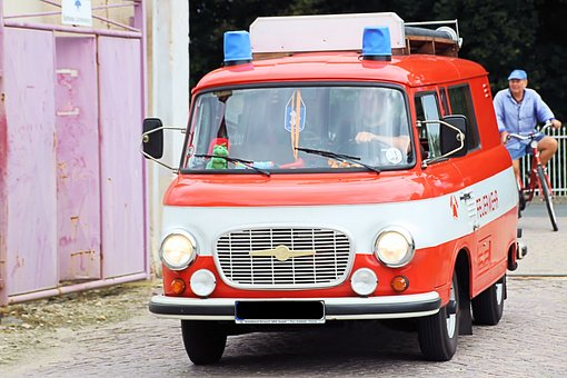 Firefighter Vehicle, Old, Historically, Barkas, B1000