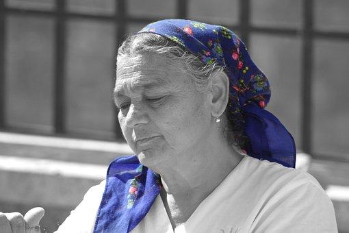 Woman, Face, Headscarf, Old, Portrait, Human