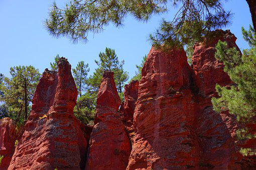 Rock Towers, Ocher Rocks, Rock, Roussillon, Red