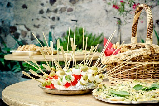 Party, Skewers, Chunks, Bar Table, Table, Basket