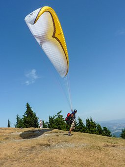 Paragliding, Start, Clipping Stage, Wind, Wind Sock