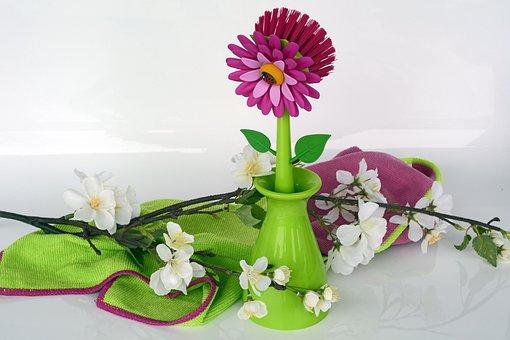 Clean, Spring Putz, Crockery Brush, Flowers, Pink