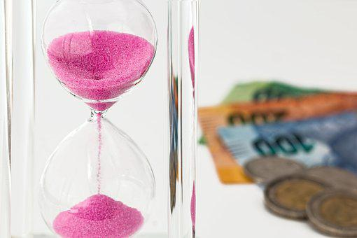 Hourglass, Money, Time, Investment, Currency, Finance