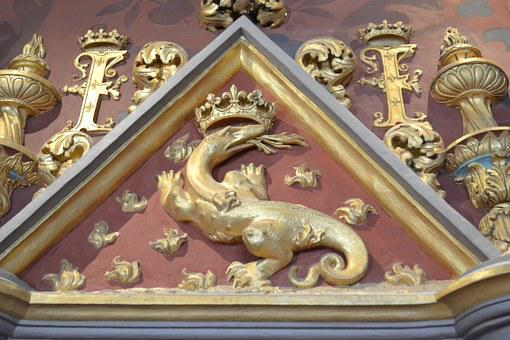 Salamander, Emblem Of King, Monogram, Crown