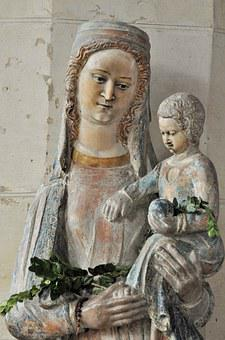 Virgin, Statue, Religion, Church, France, Sainte