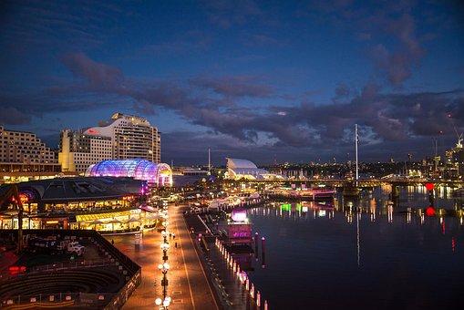 Darling Harbour, Sydney, Australia, Dawn, Architecture