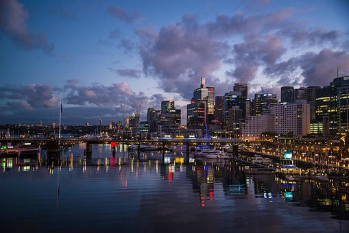 Darling Harbour, Sydney, Australia, Dawn, Buildings