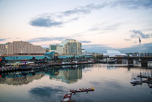 Darling, Harbour, Sydney, Australia, Dawn, Buildings