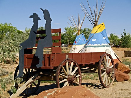 Wild, West, Wagon, Dead Horse Point, Arizona, Usa