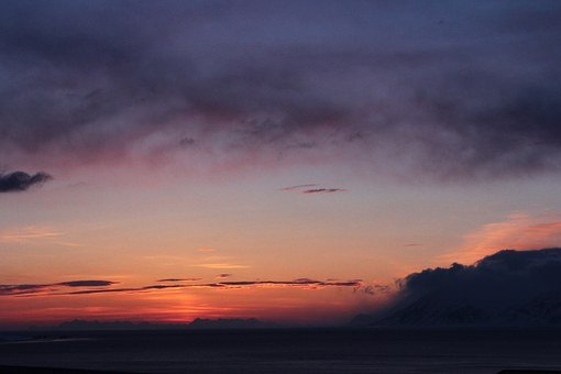 Arctic, Sunset, Svalbard, Night, Polar Day, North