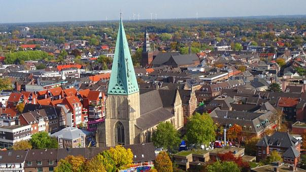 Bocholt, Aerial View, Church, St Georg, Lady, Windräder