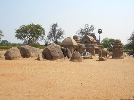 Five Rathas Temple, Mahabalipuram, India, Landscape